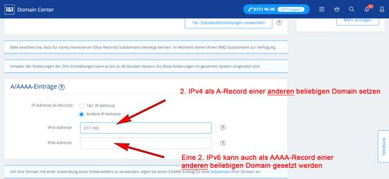 Die zweite IPv4 als A-Record der 2. DNS-Domain setzen.