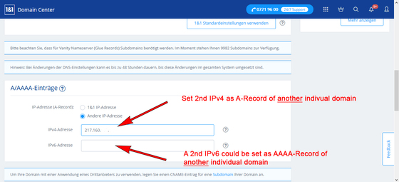 Set the 2nd IPv4 as A-record of the 2nd DNS domain.