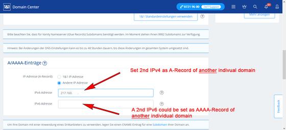 Coloque o segundo IPv4 como um registro A do segundo domínio DNS.