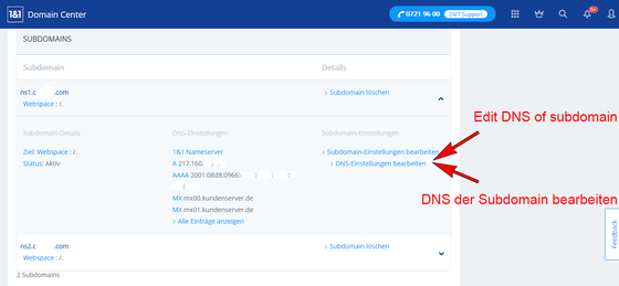 Servidores de nombres propios - servidores 1und1 - Plesk Onyx