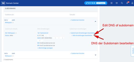 Own name servers - 1und1 servers - Plesk Onyx