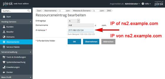 DNS Plesk Onyx Konfiguration