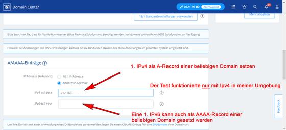 Die erste IPv4 als A-Record der 1. DNS-Domain setzen.