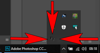 PureText menu in taskbar