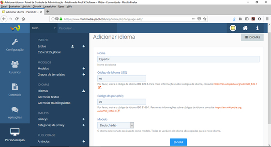 WoltLab Suite – Adicionar Idioma Espanhol