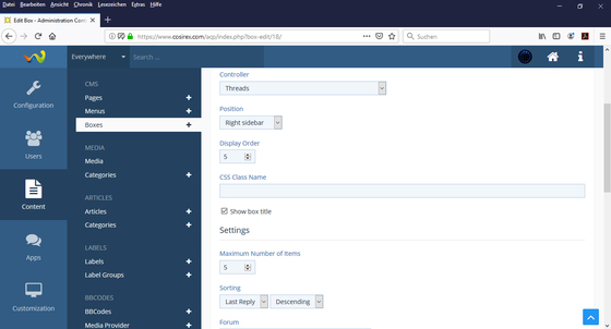 WoltLab Suite – Create Box – New Posts