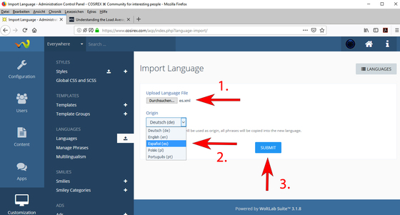 Update WoltLab language files – How to import new language files?