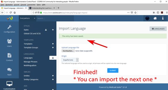 WoltLab: Language file successfully imported