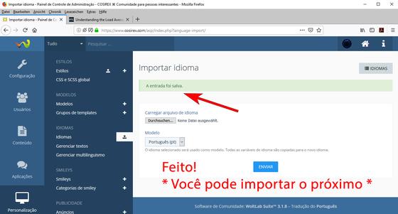 WoltLab: Arquivo de idioma importado com sucesso