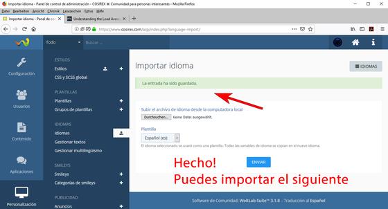 WoltLab: Archivo de idioma importado con éxito