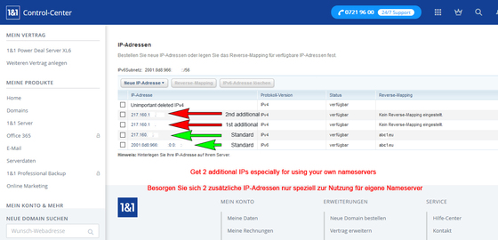 Register 2 additional IPv4 addresses only to use 2 DNS domains