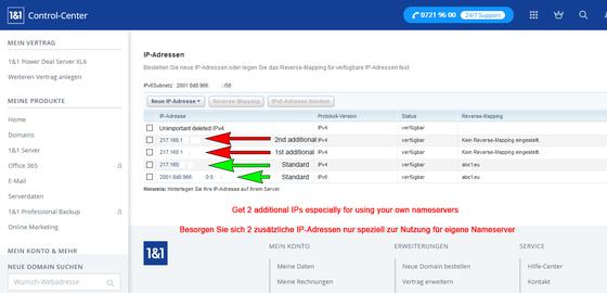 Registrieren sie 2 zusätzliche IPv4-Adressen nur zur Nutzung von 2 DNS-Domains